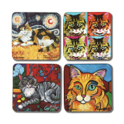 """Pavilion Gift Company 12068 Paw Palettes """"Long Haired Cat"""" Coaster, 10cm by 10cm , Set of 4"""