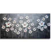 YaSheng Art - Hand-painted Contemporary Art white Flowers Oil Paintings Landscape Artwork Modern Texture Palette Knife Paintings Home Interior Decor Wall Art picture Ready to Hang 50cm x 100cm inch