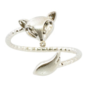 AppleLatte Silver Plated Triangle Fox Adjustable Ring
