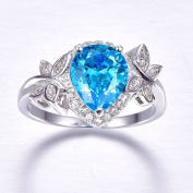 Bonlavie 3.85ct Pear Cut Swiss Blue Topaz & CZ Halo Promise Engagement Ring 925 Sterling Silver