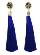B Jewellery Collection Deco Rose Long Tassel Earrings, Blue