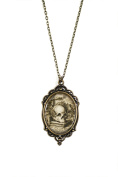 """Librarian Skull 30x40mm Brass Filigree Necklace on 18"""" Chain"""