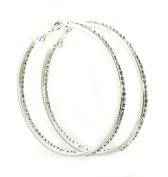 Lin Suu Jewellery Silvertone Crystal Hoop Earrings Large 5.1cm