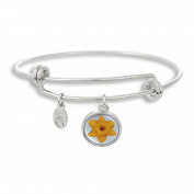 The Adjustable Band Bangle Bracelet featuring the Yellow Flower