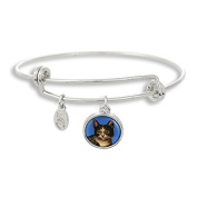 The Adjustable Band Bangle Bracelet featuring the Cat with Blue Background