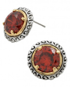 Red Cubic Zirconia Button Post Earrings in Two-Tone