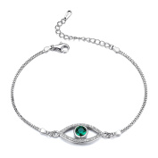 GTB2011 S925 Silver CZ Stones Simulated Emerald Evil-Eye Chain Bracelet Rhodium Plated Main Stone 1.15 Carats
