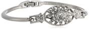 """Signature 1928 """"Collection"""" Silver-Tone Crystal Bangle Bracelet"""