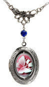 Butterfly Locket Best Friend Cameo Necklace Photo Silver Pendant Fashion Jewellery Pouch for Gift
