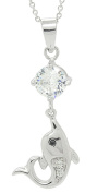 Sterling Silver Rhodium Plated Cubic Zirconia Dolphin Pendant Necklace, 46cm