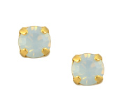 Mariana Yellow Gold Plated Petite Round Crystal Post Earrings in White Opaque