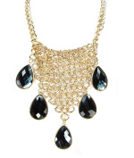 Fashion Mesh Tear Drop Statement Necklace Gold Tone