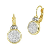 Round Pave CZ Disc Dangle Earrings