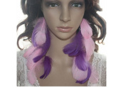 Long Feather Earrings for Women Pink Purple Natural Feather Earrings