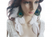 Peacock Feather Earrings for Women Chain Feather Earrings White