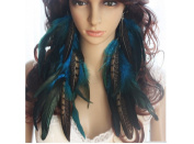 Natural Feather Earrings Blue Cool Long Natural Feather Earrings