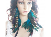 Natural Feather Earrings Blue Chain Long Natural Feather Earrings