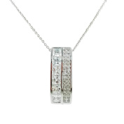 Fashion Jewellery - 18k White Gold Plated Bar Necklace