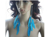Feather Earrings for Women Chains Blue Long Feather Earrings for Women 3 Pairs