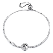GTB1690 S925 Silver CZ Stones Double Cycle Sizeable Tennis Link Bracelet Rhodium Plated