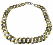 Three Tone Cuban Link Chain Statement Necklace
