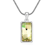 Jewistic Crystal Luminous Green Cubic Rhodium-Plated Necklace Made with Elements 5L50114