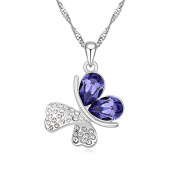 Jewistic Crystal Tanzanite Butterfly Rhodium-Plated Necklace Made with Elements 5L50038