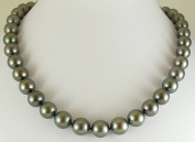 """Tahitian Black 11.9mm - 10mm Round Pearl Necklace 14k White Gold Clasp 19"""""""