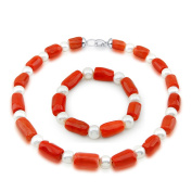 """10-11mm Freshwater Cultured Pearl and Red Coral necklace 18"""" & Bracelet 7.5"""" Sets"""