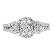 18k White Gold and Diamond Round Ring