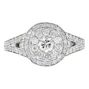 14k White Gold Pave Set Diamond Round Ring