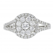 14k White Gold Pave Diamond Round Ring