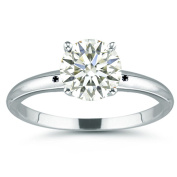 RINGJEWEL 7.65 ct VVS1 Round Moissanite Solitaire Silver Plated Engagement Ring Off White Colour Size 7