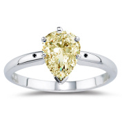 RINGJEWEL 1.44 ct VVS1 Pear Moissanite Solitaire Engagement Silver Plated Ring Yellow White Colour Size 7