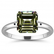 RINGJEWEL 13.98 ct VS1 Emerald Moissanite Silver Plated Engagement Ring Brown Green Colour Size 7