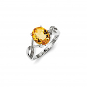 Sterling Silver Rhodium Citrine & Diamond Ring