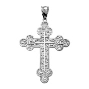 10k White Gold Eastern Orthodox ICXC Cross Pendant
