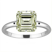 RINGJEWEL 4.25 ct VS1 Emerald Moissanite Silver Plated Engagement Ring Off White Green Colour Size 7.50