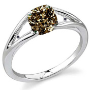 RINGJEWEL 2.15 ct SI1 Cushion Moissanite Solitaire Silver Plated Engagement Ring Brown Colour Size 7.50