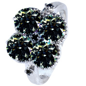 RINGJEWEL 2.38 ct SI1 Round Real Moissanite Solitaire Silver Plated Engagement Ring Brown Green Colour Size 7
