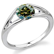 RINGJEWEL 2.29 ct VVS1 Round Moissanite Solitaire Silver Plated Engagement Ring Brown Green Colour Size 8