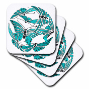 3dRose cst_62984_1 Arts and Crafts Style Butterflies Soft Coasters, Set of 4