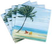 LS Arts Inlet Palm Coasters (Set of 4), Multicolor