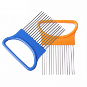 Beauty Clubs Easy Cut Onion Holder Fork Stainless Steel Plastic Vegetable Slicer Tomato Cutter Metal
