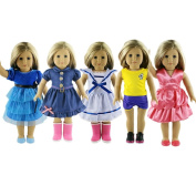 Doll Clothes Set Include 5pcs Dress Fits 46cm American Girl Doll, Our Generation, Journey Girls Dolls by ZWSISU