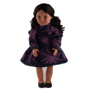 ZWSISU Cobweb Pattern Doll Dress Include Shoes Fits 46cm American Girl Doll,Our Generation and Journey Girls Dolls