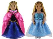 HongShun 2 Set Doll Clothes for 46cm American girl Handmade Elsa and Anna Princess dress