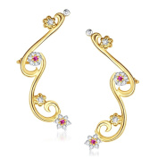 V. K. Jewels Bollywood Fashion Women's Rounding Leaf Gold And Rhodium Plated Cuff Earring