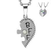 Esty & Me Stainless Steel Necklace w/ Birthstone BFF Heart Charm Right Half