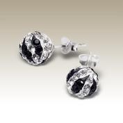 Sterling Silver Crystal Ball Earrings 8 mm